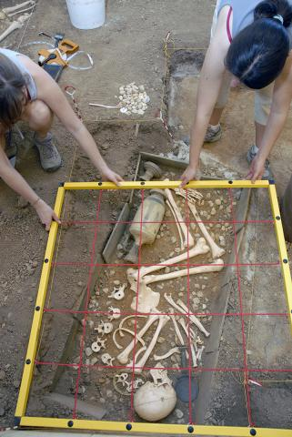 Dig Simulator (students excavating fifth-century-BC cist grave)